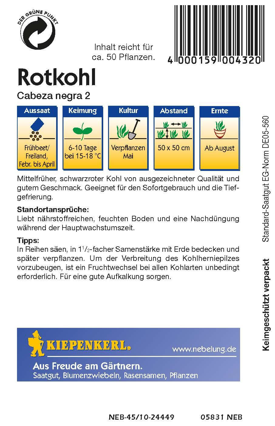 Saatgut Rotkohl Schwarzkopf 2 Bild 2