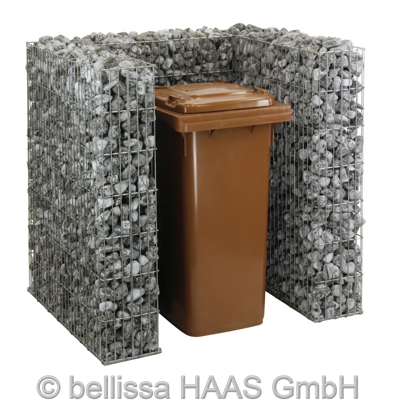 Mülltonnen Gabione Set für 1 Tonne bellissa 112x101,5x120cm Bild 2