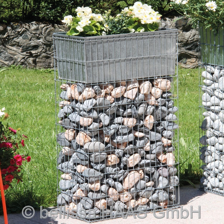 Pflanzgabione / Steinkorb mit Bewässerungskasten bellissa 40x20x80cm Bild 1