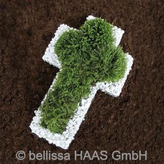 Pflanzschale / Blumenschale Gitter Steinkorb Kreuz bellissa 50x30x4cm Bild 1