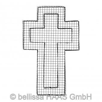 Pflanzschale / Blumenschale Gitter Steinkorb Kreuz bellissa 50x30x4cm Bild 2