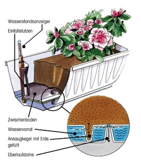 Bewässerungsblumenkasten Aqua Flor Plus 60 cm braun Bild 2