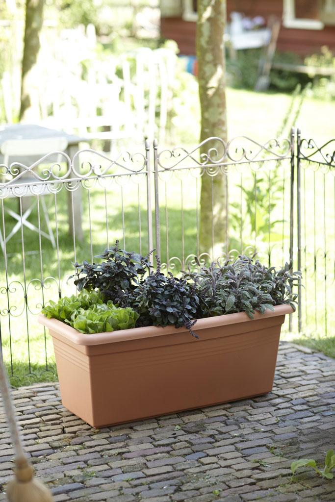 Blumenkasten / Pflanzkasten elho Green Basics Garden XXL 100cm tonrot Bild 1
