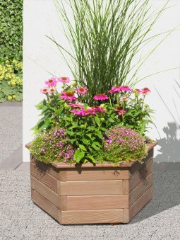 Blumenkübel / Pflanzkasten 6-eckig Holz Lärche Ø60x35cm Bild 1