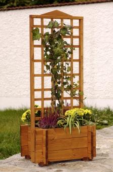 Blumenkasten mit Rankgitter Hofgarten 55x46x120cm imprägniert Bild 1