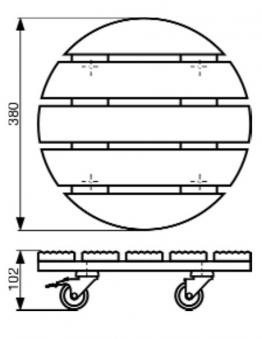 Wagner Pflanzenroller Multi-Roller Creo rund Ø 38cm Holz grau außen Bild 2