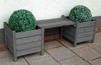 Blumenbank Bodensee / 2 Pflanzkübel mit Sitzbank 160x50x45cm grau Bild 1