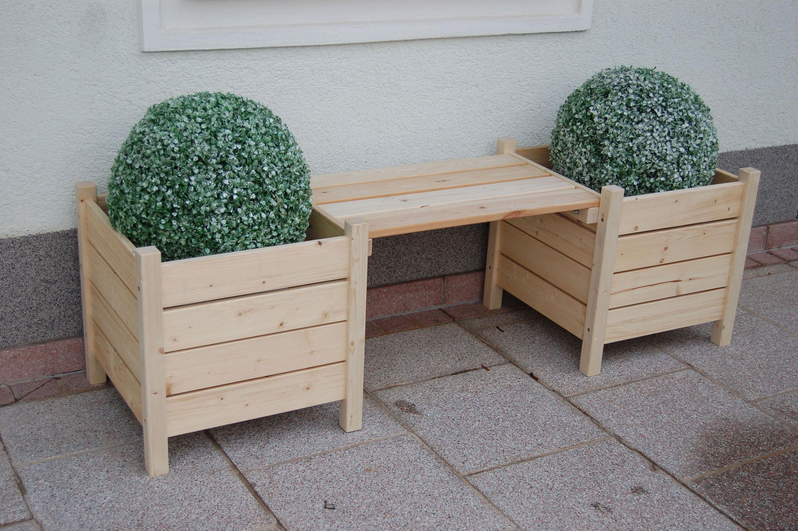 Blumenbank Bodensee / 2 Pflanzkübel mit Sitzbank 160x50x45cm natur Bild 1