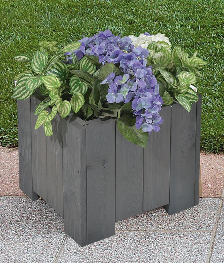 Blumenkübel / Pflanzkübel Blumenkasten Wels 40x40x35cm vintage-grau Bild 1