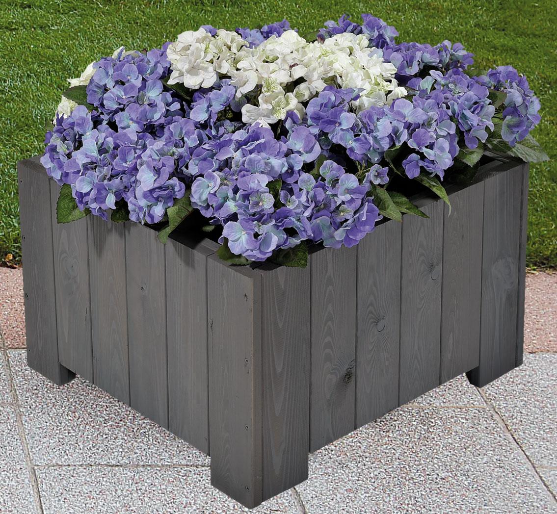 Blumenkübel / Pflanzkübel Blumenkasten Wels 57x57x35cm vintage-grau Bild 1