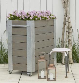 Blumenkasten Cubic mit Rädern Plus 87x50x95cm Holz graubraun Bild 2