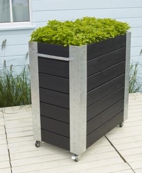 Blumenkasten Cubic mit Rädern Plus 87x50x95cm Holz schwarz Bild 2