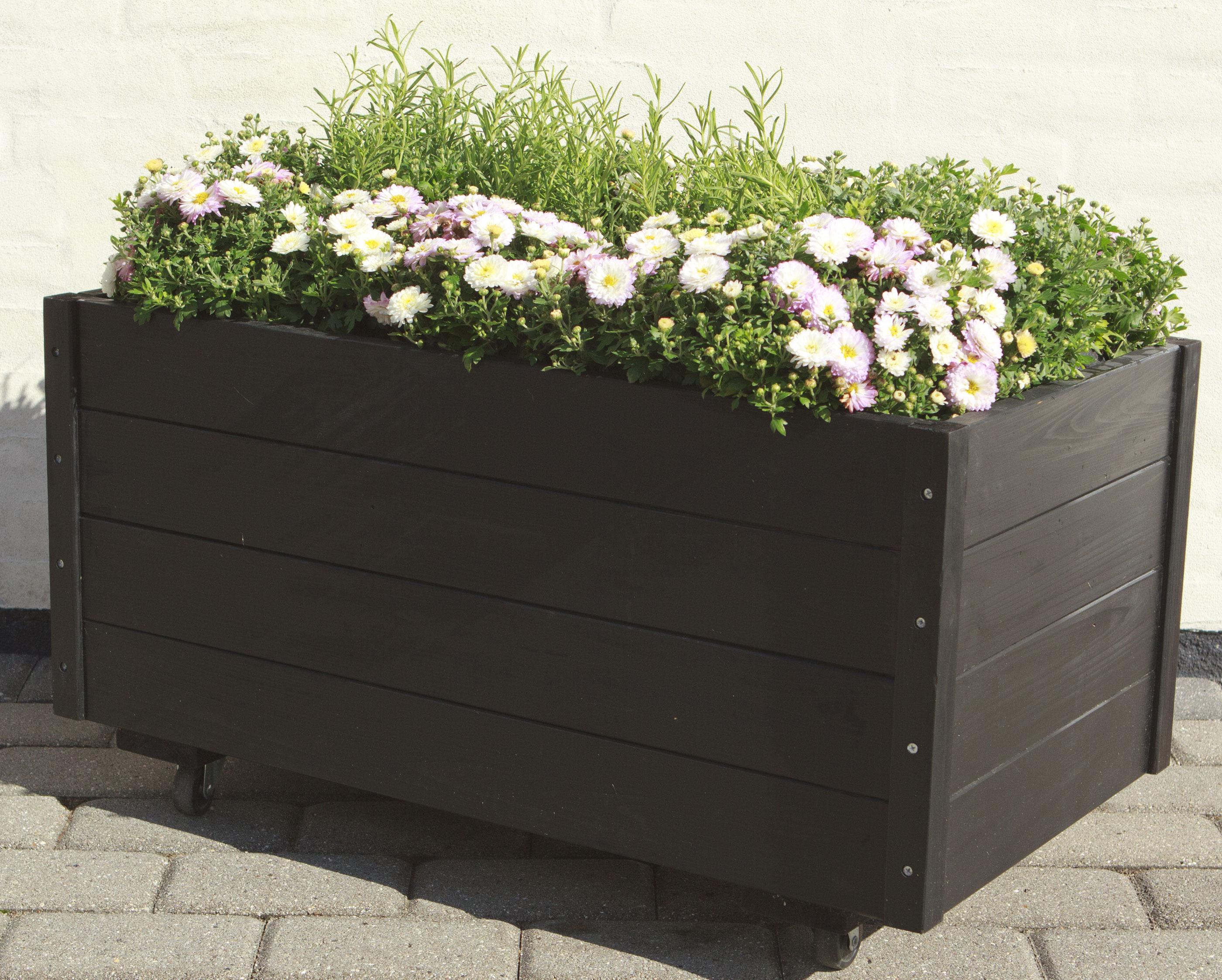 Blumenkasten Cubic mit Rädern Plus 88x48x47cm Holz schwarz Bild 2