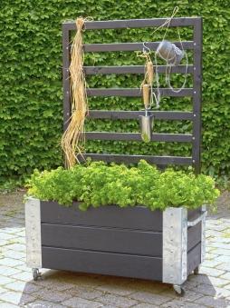 Blumenkasten Cubic mit Rankgitter Plus 87x50x130cm Holz schwarz Bild 2
