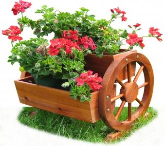 Blumenkasten Habau mit Wagenrad 44x42x40cm Bild 2