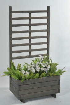 Blumenkasten mit Rankgitter Gmunden 68x37x136cm vintage-grau Bild 1