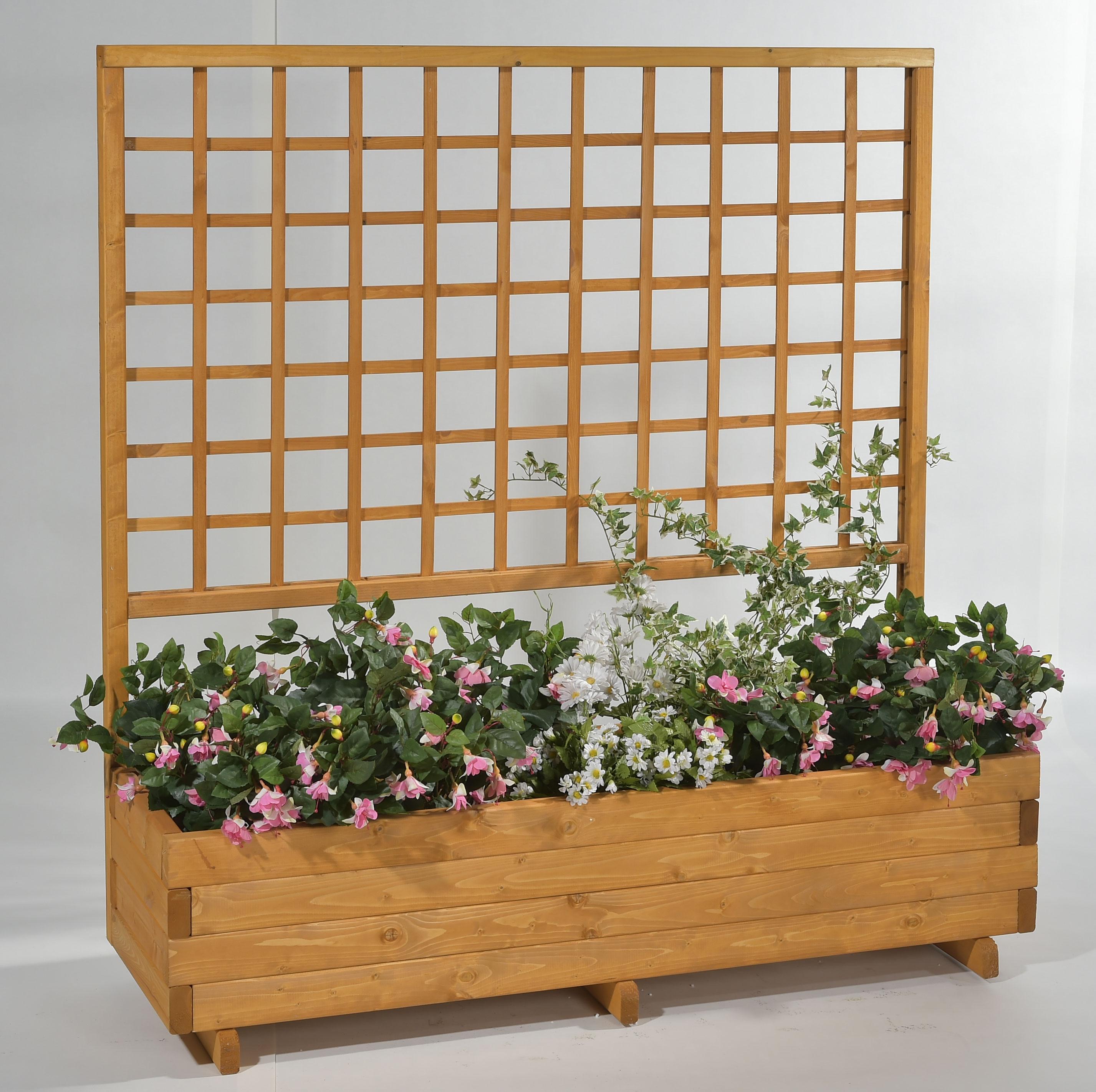 Blumenkasten mit Rankgitter Hellbrunn 136x37x140cm honig Bild 1