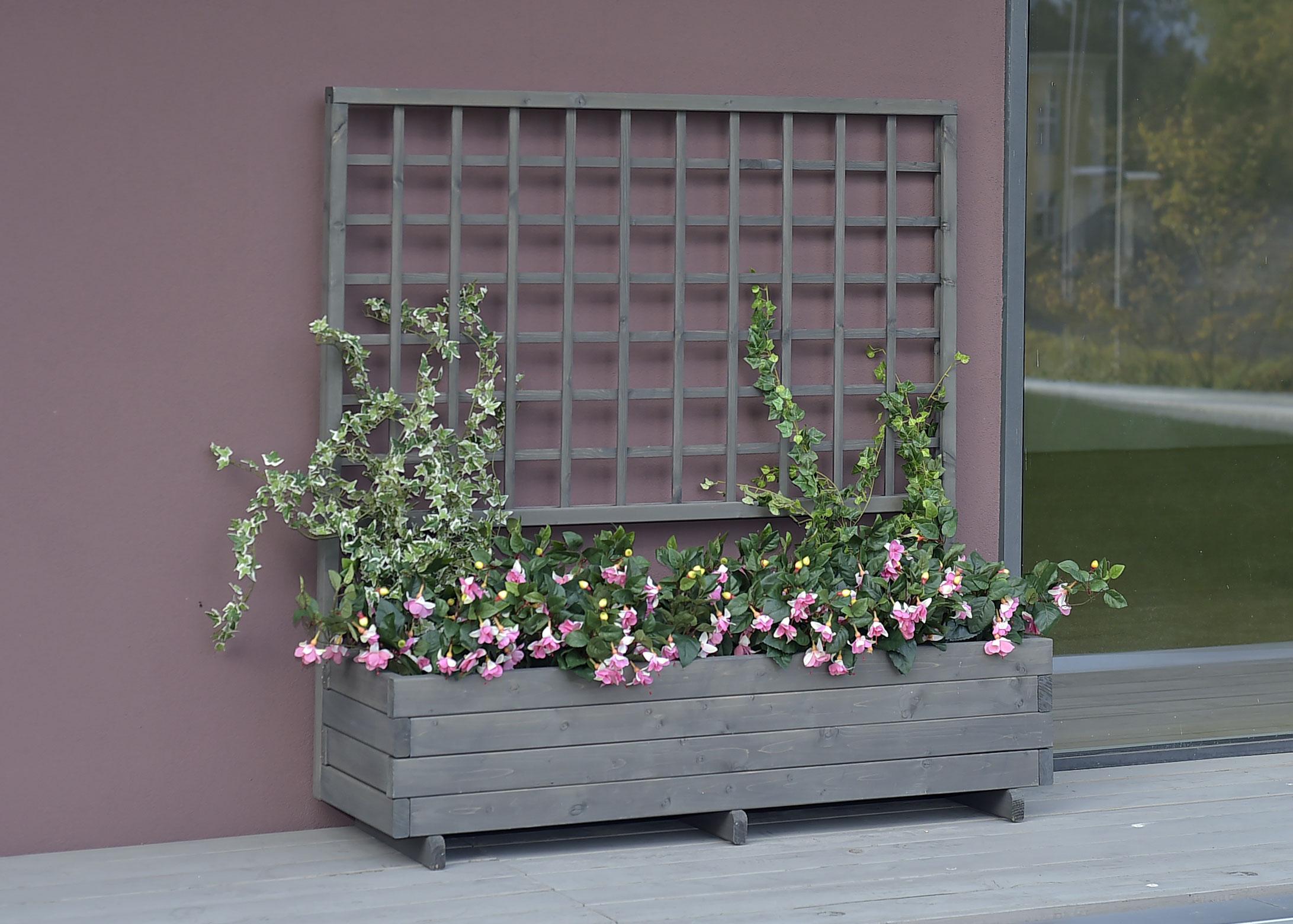 Blumenkasten mit Rankgitter Hellbrunn 136x37x140cm vintage-grau Bild 1