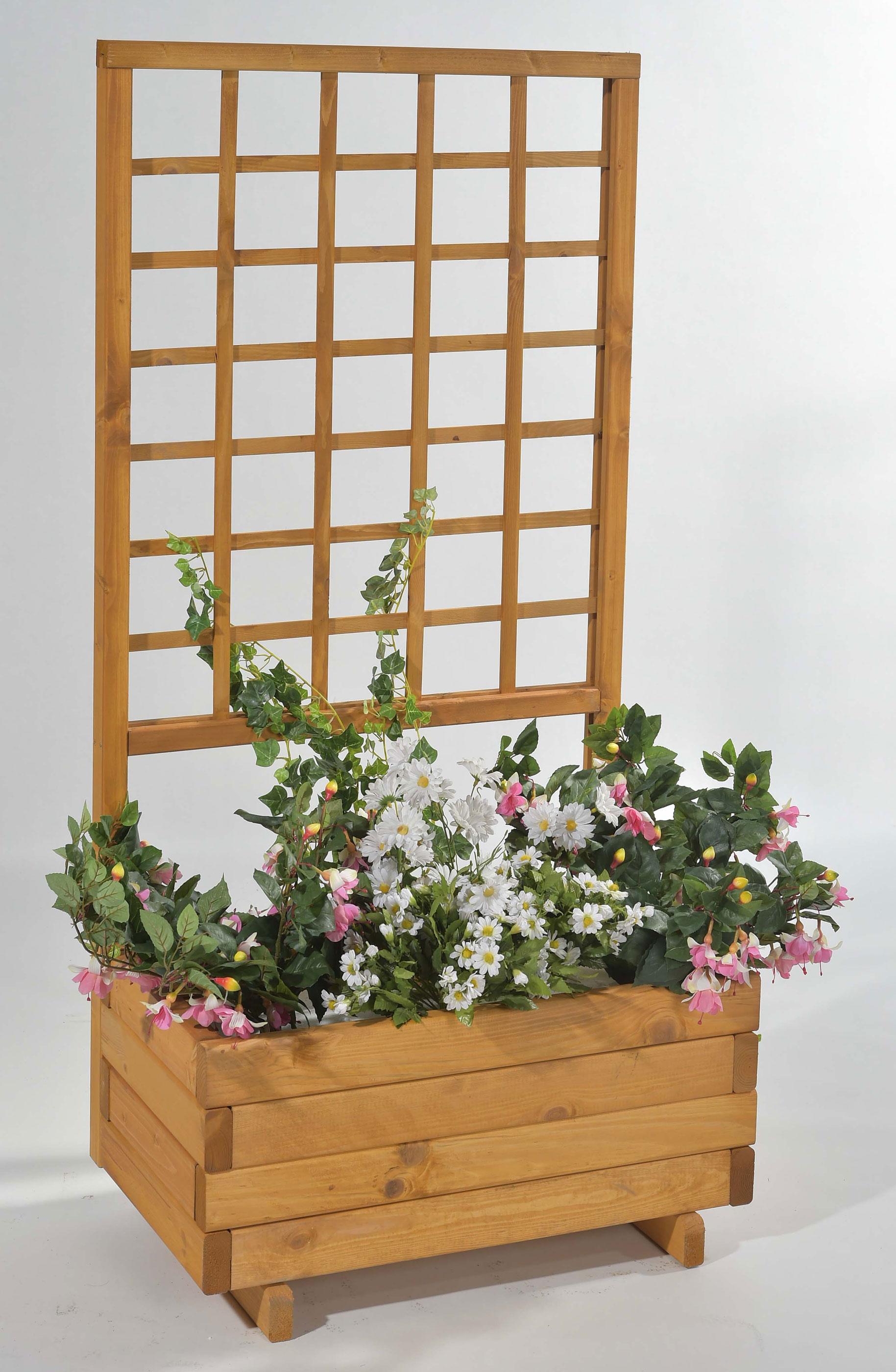 Blumenkasten mit Rankgitter Hellbrunn 68x37x140cm honig Bild 1