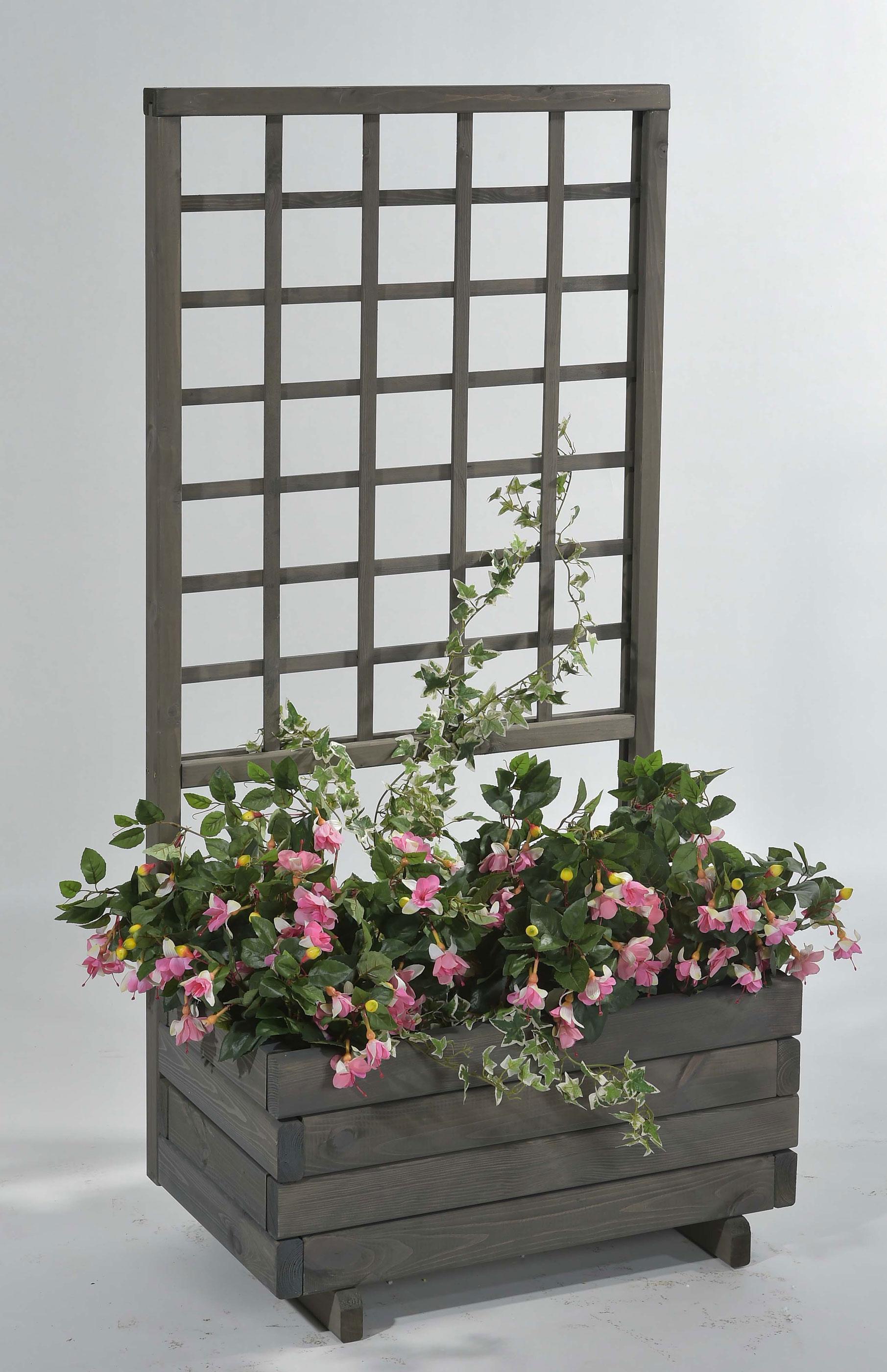 Blumenkasten mit Rankgitter Hellbrunn 68x37x140cm vintage-grau Bild 1