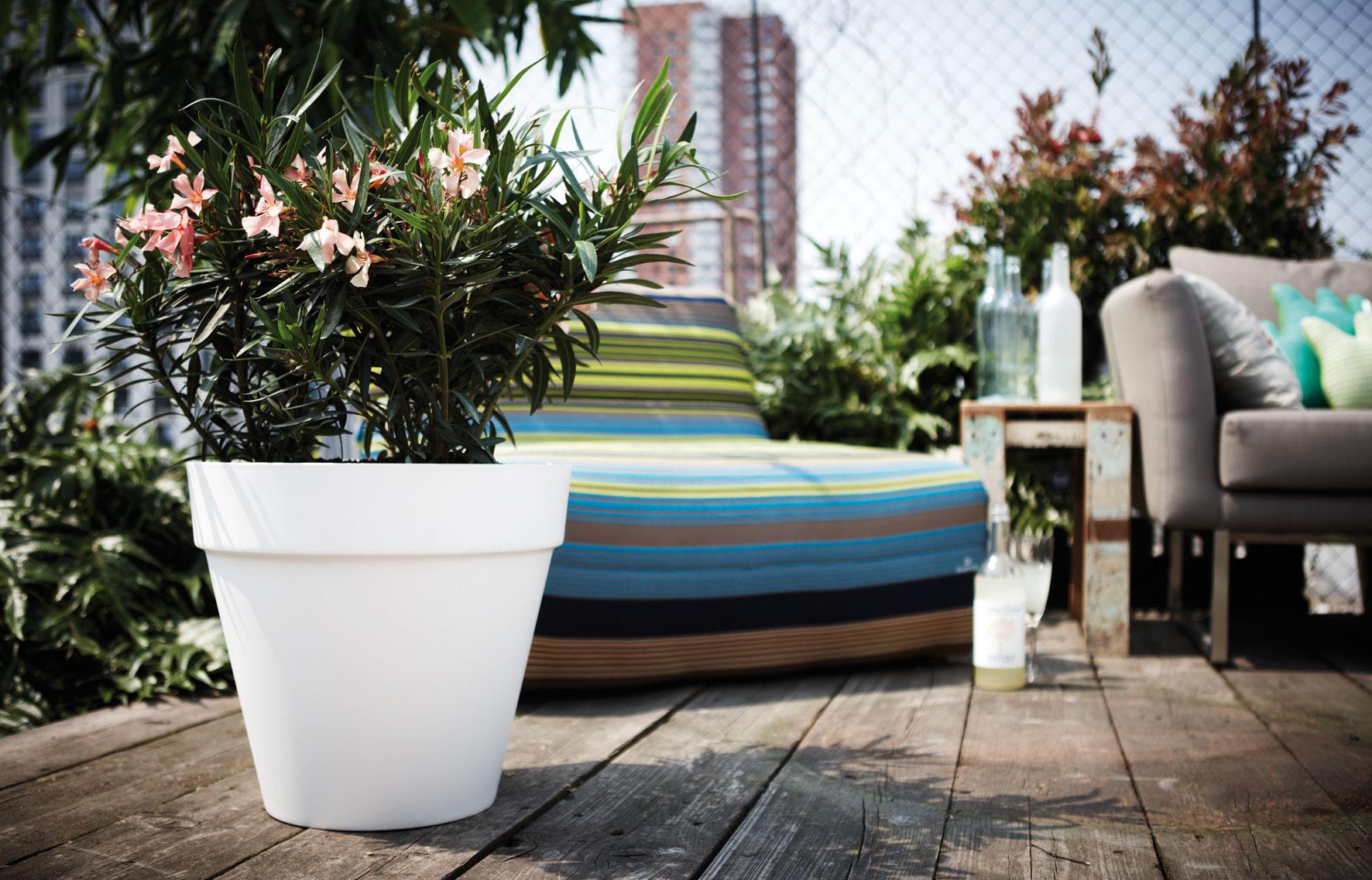 Pflanztopf elho Loft Urban Round fahrbar Ø 40cm H 35cm weiß Bild 1