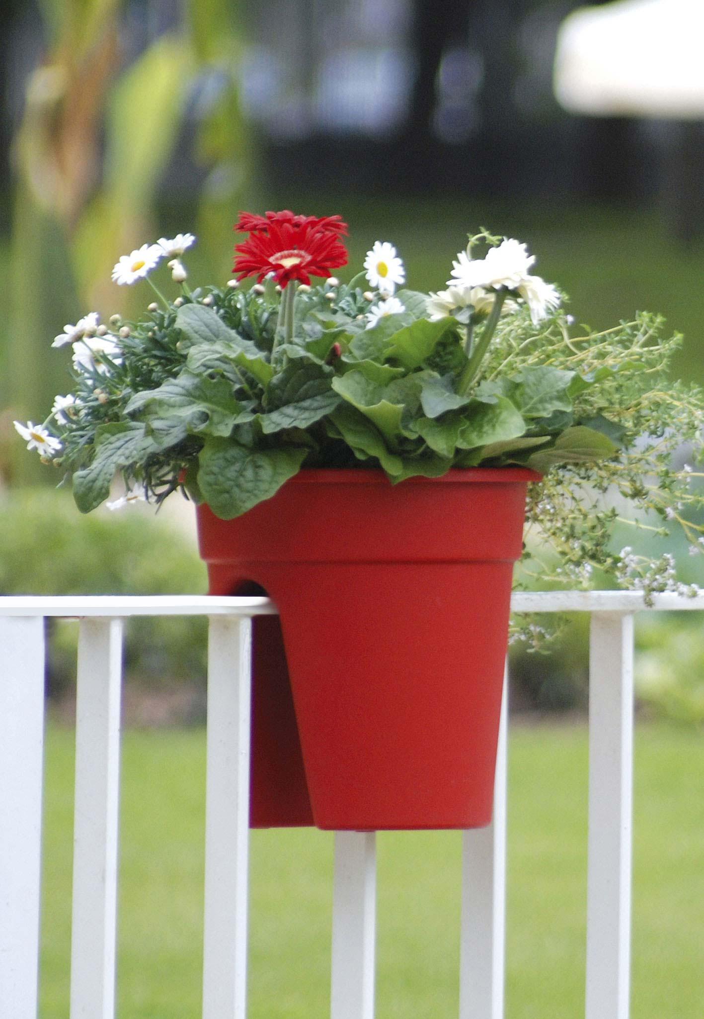Khw pflanztopf gel nder blumentopf flowerclip 4 stck for Blumentopf rot