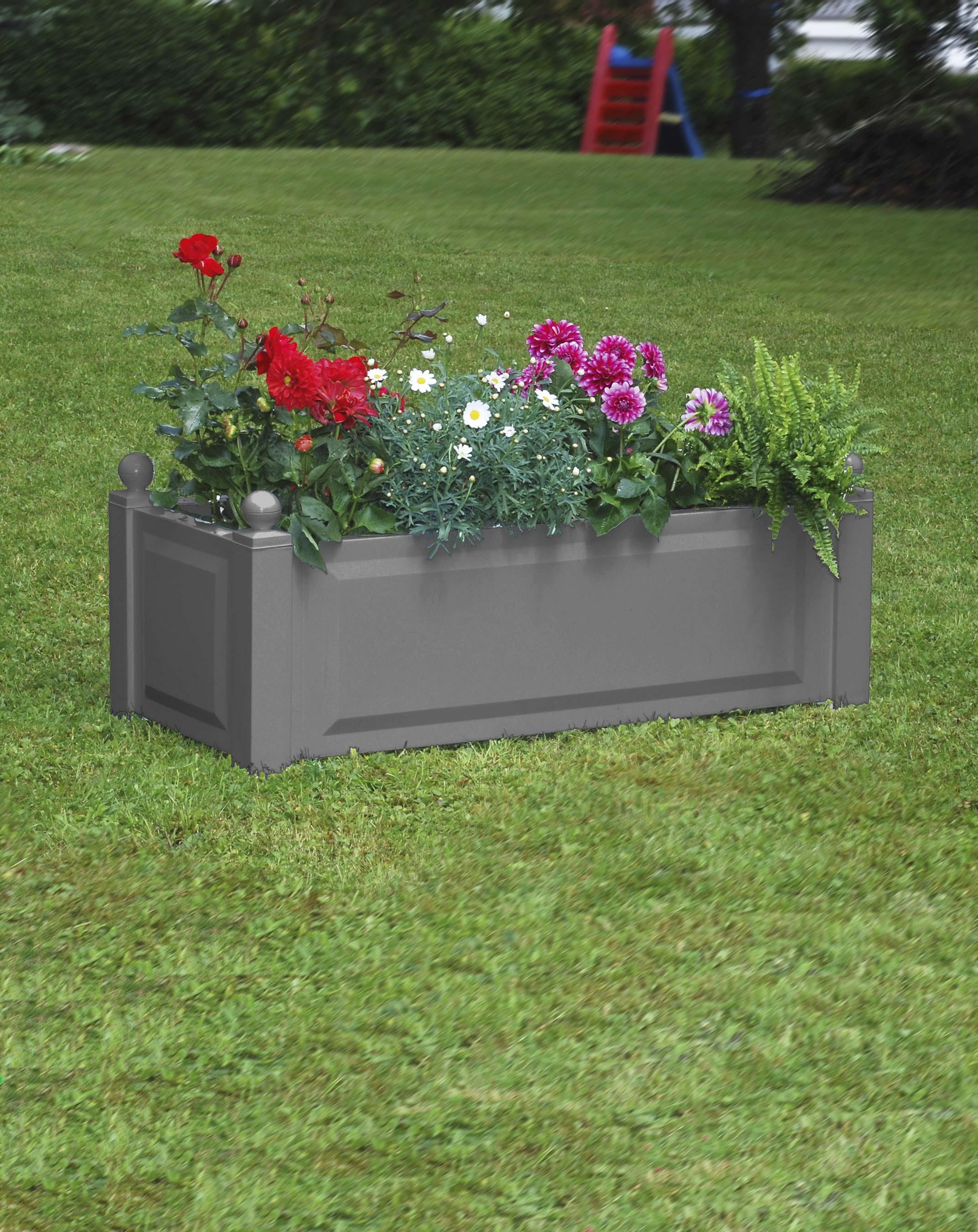 khw pflanzgef pflanzkasten kunststoff 100x43x40cm grau bei. Black Bedroom Furniture Sets. Home Design Ideas