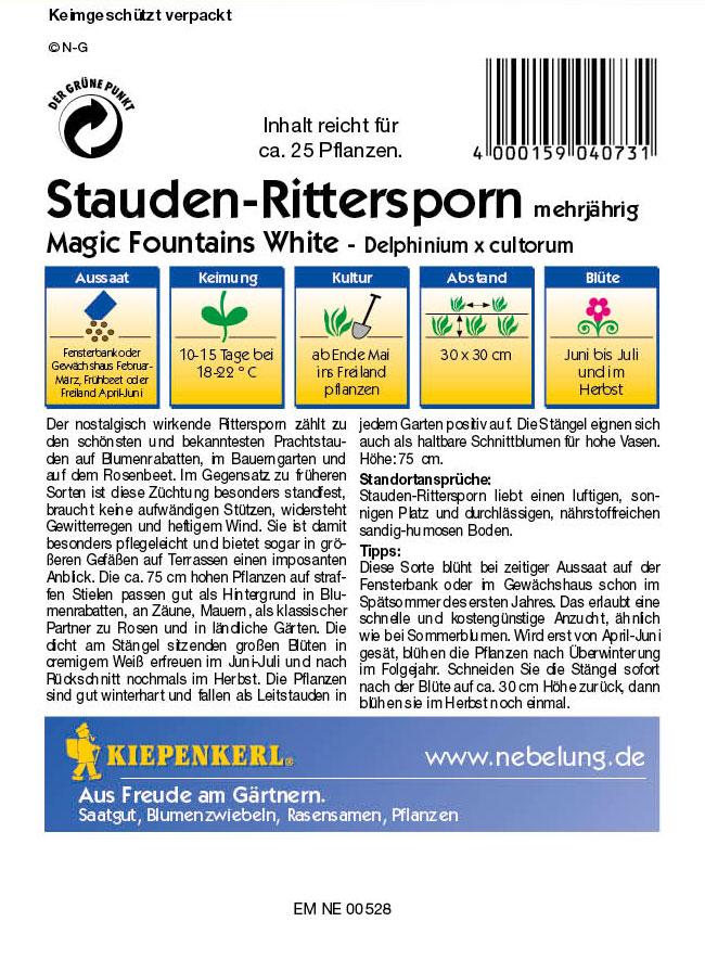 Saatgut Rittersporn, Stauden- Magic Fountains White Bild 2