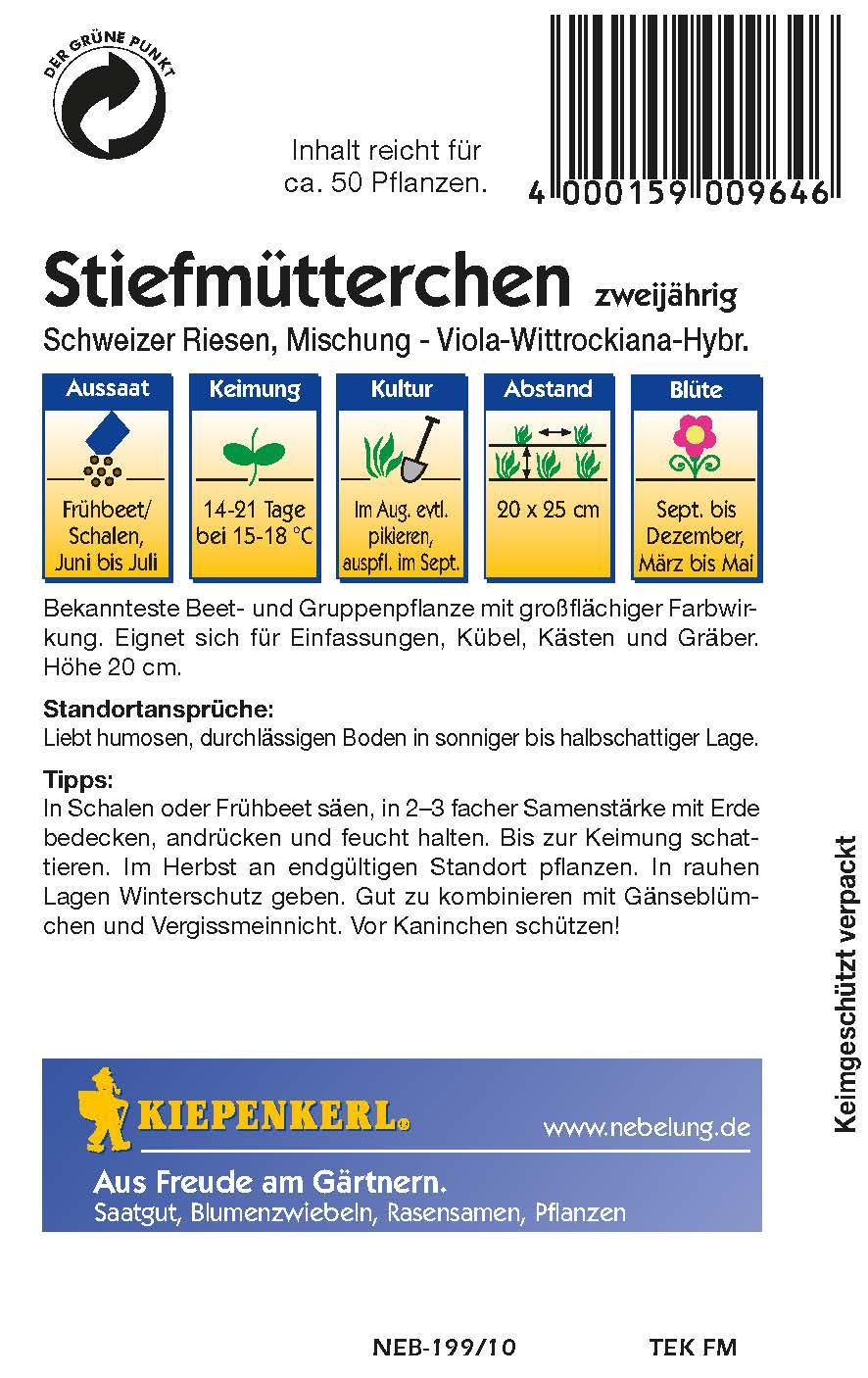 Saatgut Stiefmütterchen Schweizer Riesen Bild 2