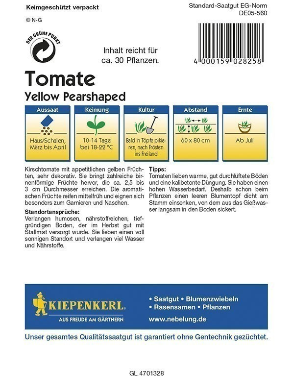 Kiepenkerl Saatgut Tomate Yellow Pearshaped Bild 2