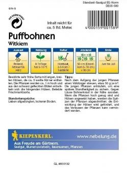 Saatgut Bohnen Witkiem (Frühe Weißkeimige) Bild 2