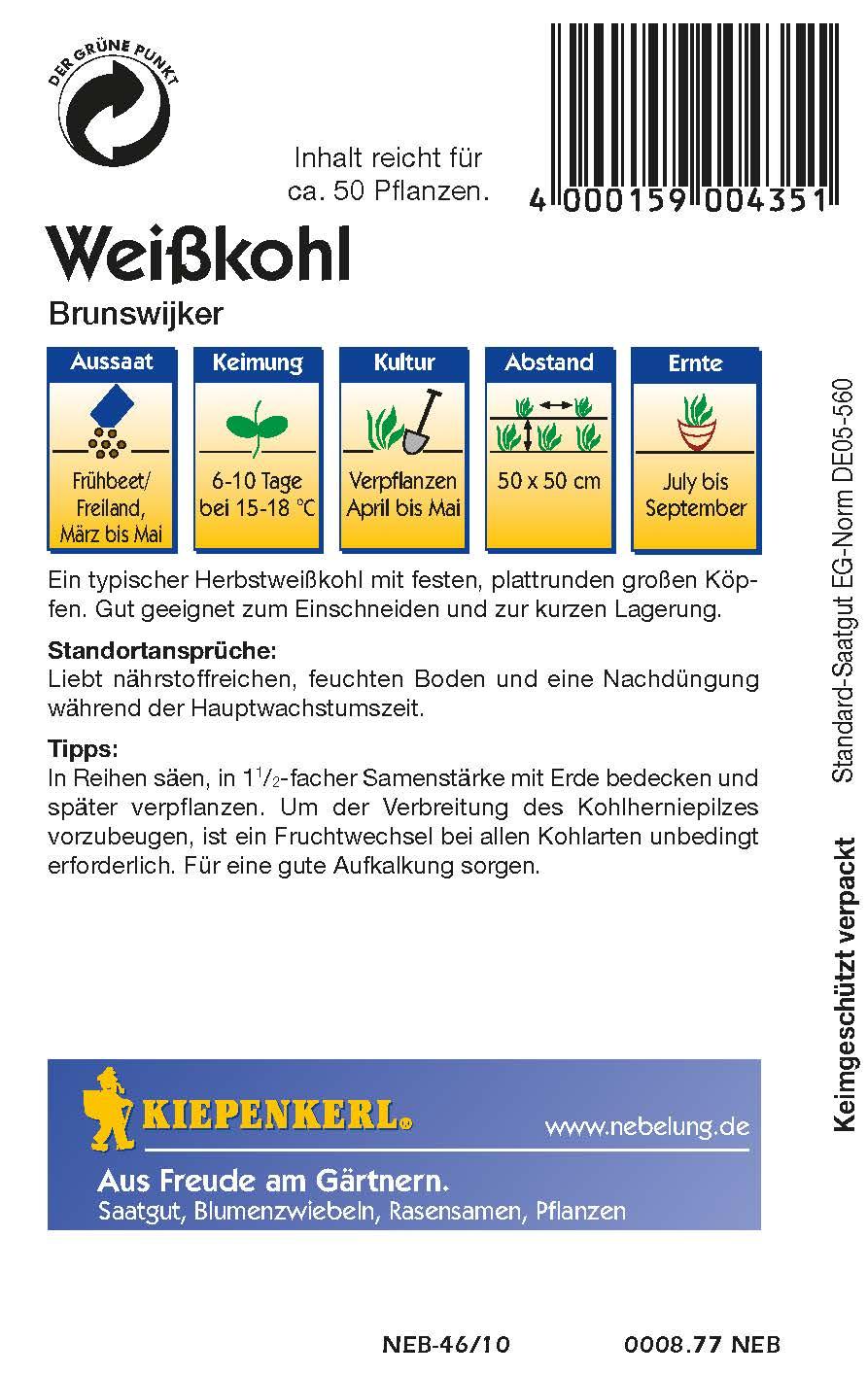 Saatgut Weißkohl Brunswijker Bild 2
