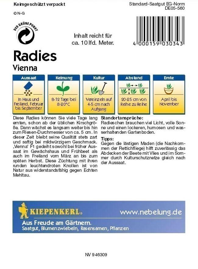 Saatgut Radieschen/ Radies Vienna F1 Bild 2