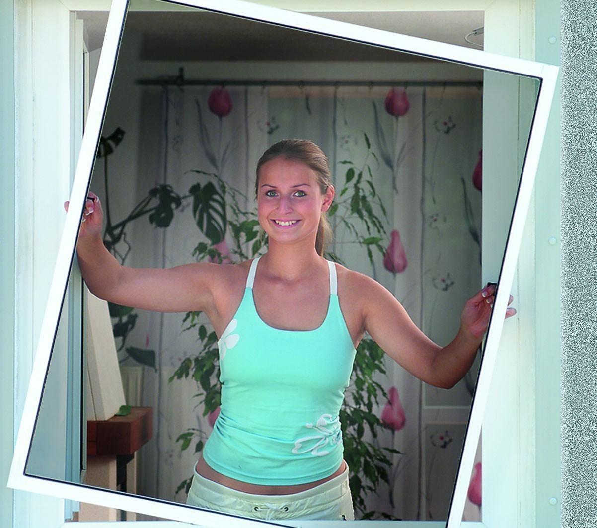 Fliegengitter Basic für Fenster Schellenberg Alu 100x120cm weiß Bild 1