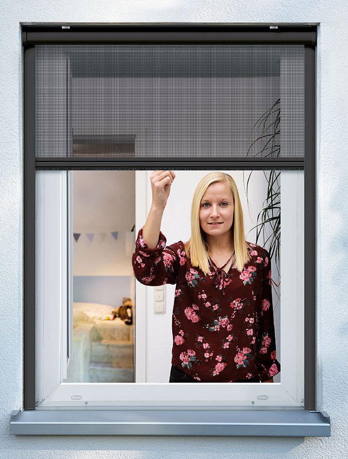 Fliegengitter Insektenschutzrollo Fenster Schellenberg 130x160cm anthr Bild 1