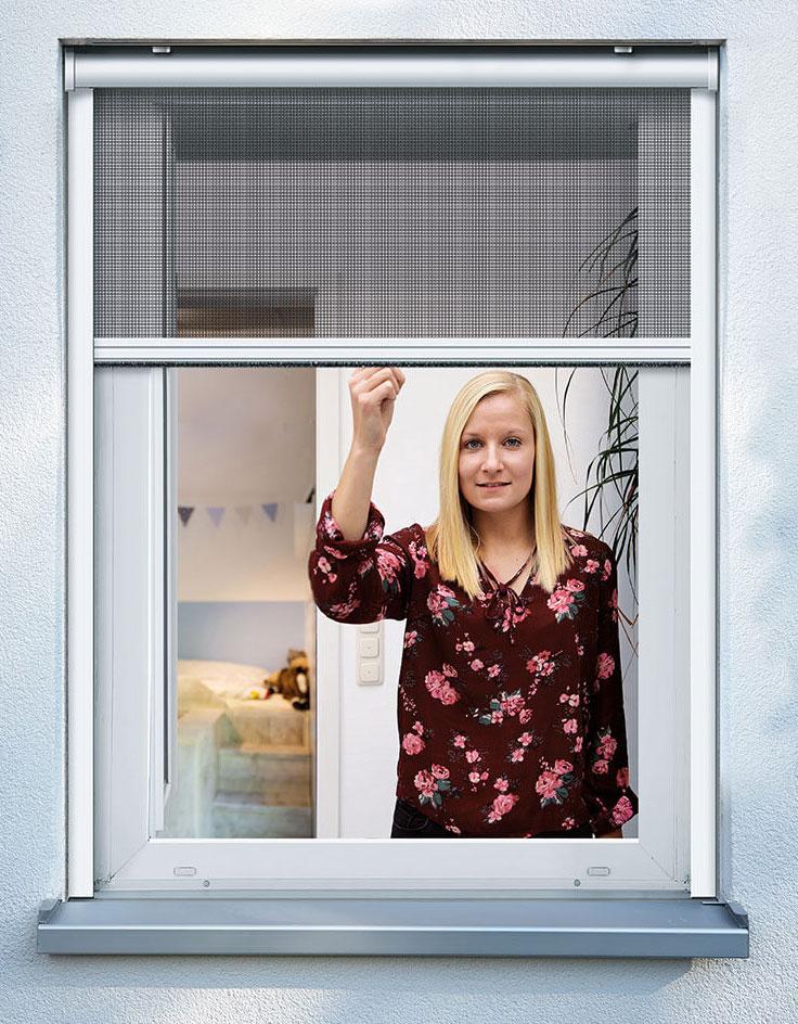 Fliegengitter Insektenschutzrollo Fenster Schellenberg 130x160cm weiß Bild 1