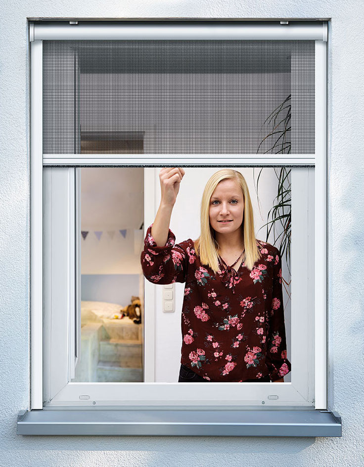 Fliegengitter Insektenschutzrollo Fenster Schellenberg 160x160cm weiß Bild 1