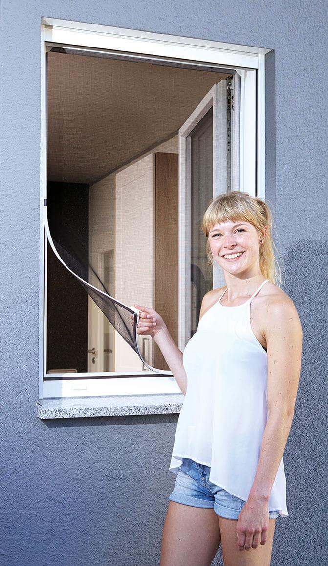 Fliegengitter Magnetic für Fenster Schellenberg 100x120cm weiß Bild 1