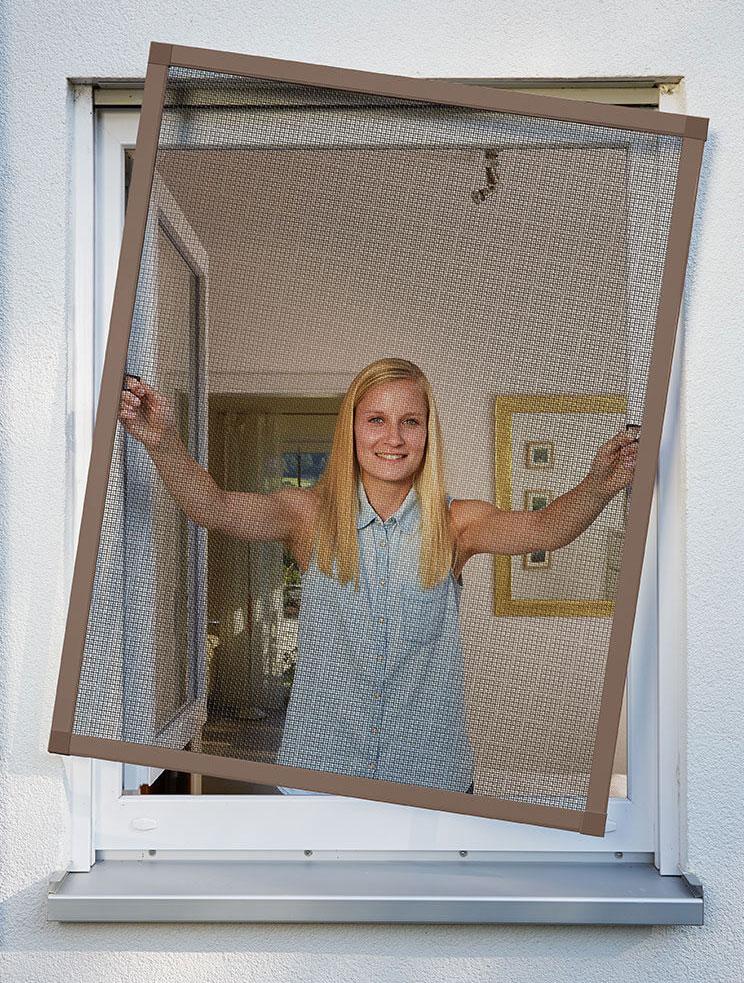 Fliegengitter Plus für Fenster Schellenberg Alu 130x150cm braun Bild 2
