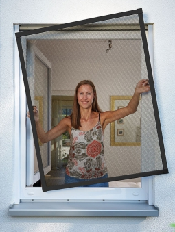 Fliegengitter Premium für Fenster Schellenberg Alu 140x150 anthrazit Bild 2