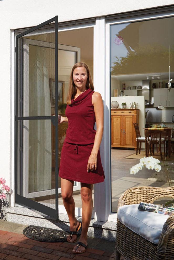 Fliegengitter Tür Premium Schellenberg 100x215cm anthrazit Bild 1