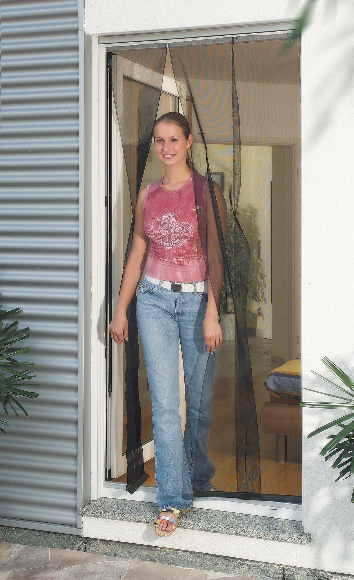 Fliegengitter Vorhang Tür Basic Schellenberg 90x210cm anthrazit Bild 1