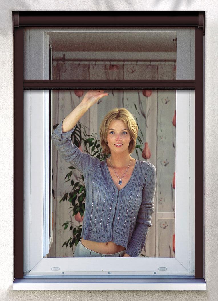 insektenschutz klemmrollo fenster premium schellenberg 130x160cm braun bei. Black Bedroom Furniture Sets. Home Design Ideas