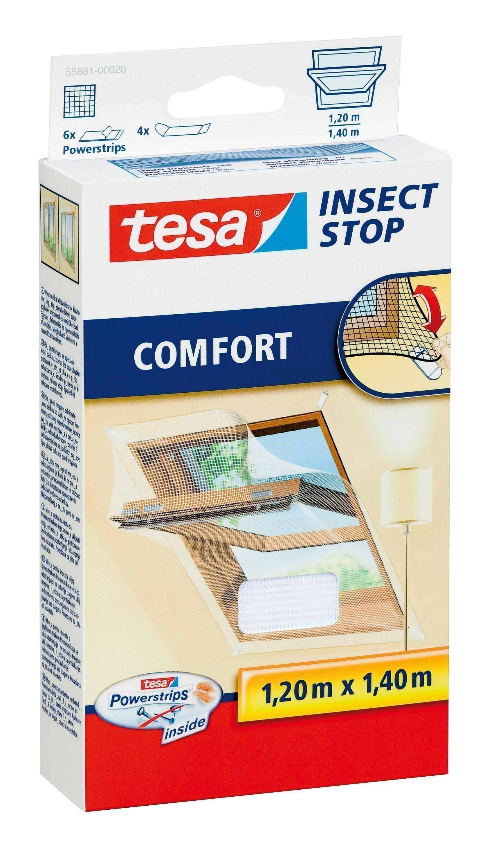 tesa Insect Stop Fliegengitter Comfort für Dachfenster weiß 120x140cm Bild 1