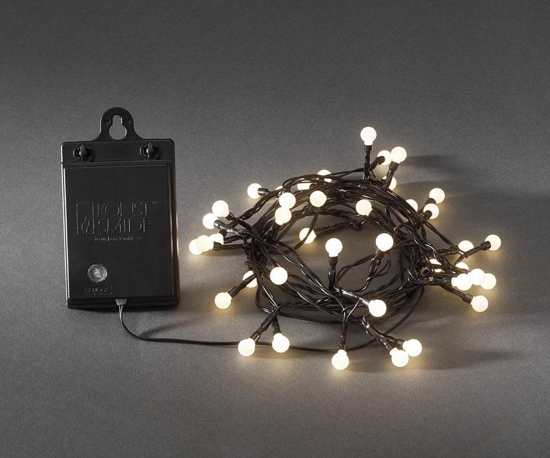 Konstsmide LED Globelichterkette batteriebetr. 40LEDs weiß/schwarz Bild 1