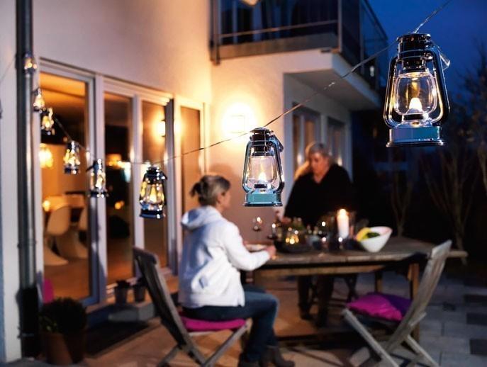Konstsmide Lichterkette LED 8 silbernen Sturmlaternen außen Bild 3