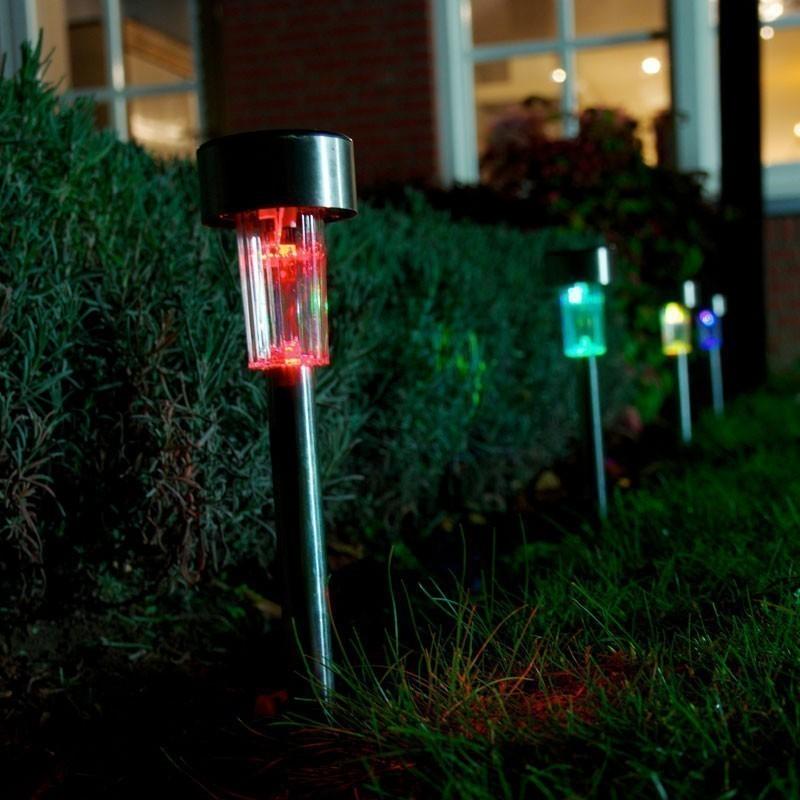 LED Solar Sticks Cleo Ranex Edelstahl 4-er Set farbig Bild 2