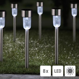 Solarlampen Solarleuchten Set 8 Edelstahl Kunststoff Bild 1
