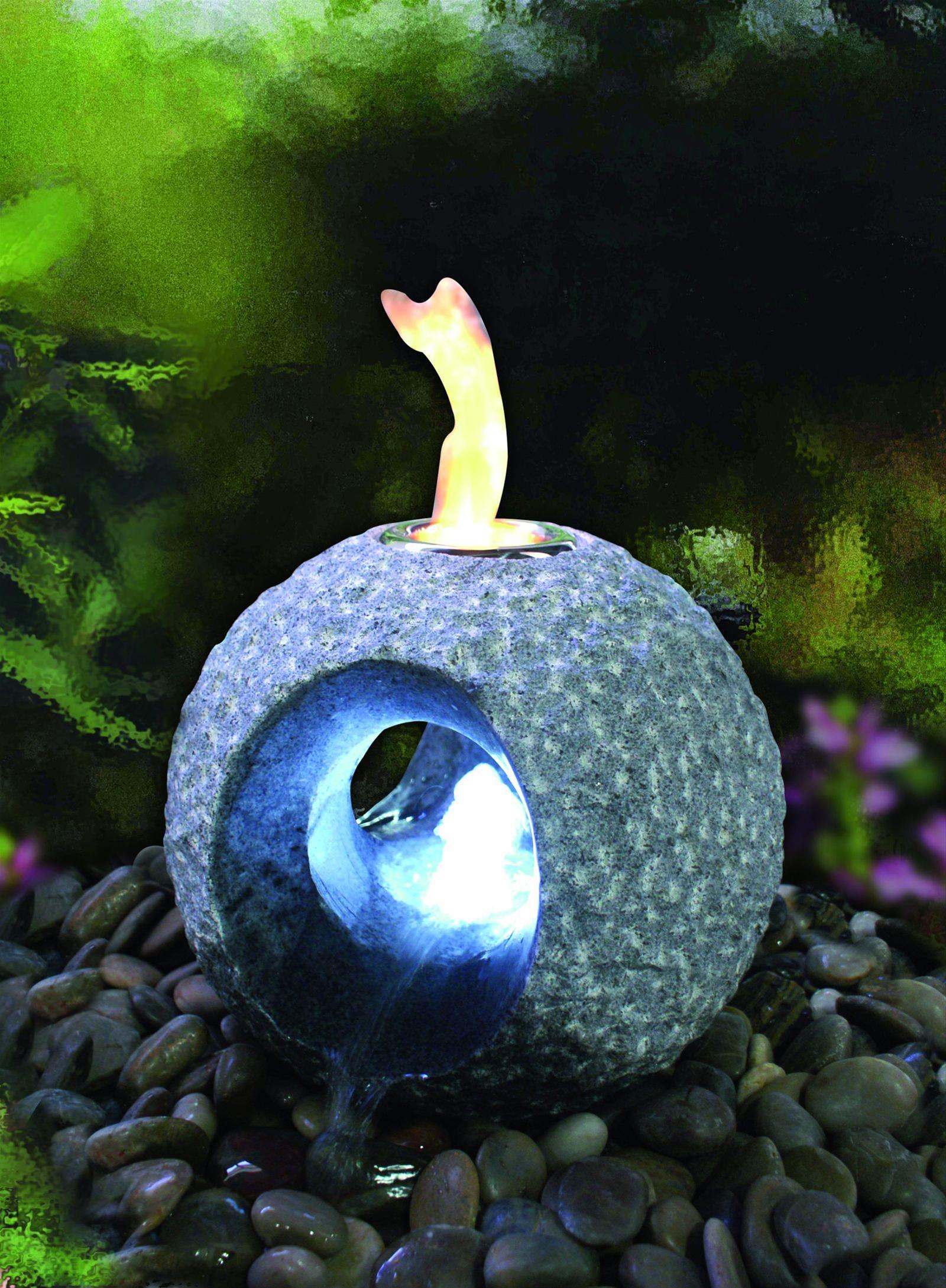 Feuer-Wasserspiel Set GardenForma Dot Granit dunkel für Bioethanol Bild 2