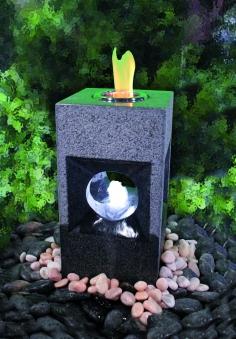 Feuer-Wasserspiel Set GardenForma Oracle Granit grau für Bioethanol Bild 2